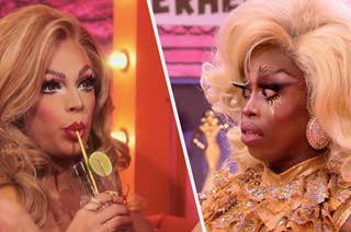 Valentina sipping from a cocktail shadily as Monique Heart stares in horror