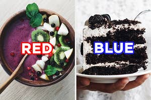 """On the left, an acai bowl topped with kiwi, pomegranate seeds, and various other fruits labeled """"red,"""" and on the right, a slice of cookies and cream cake topped with Oreo chunks labeled """"blue"""""""