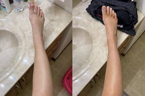reviewer pic with pale skin before using the tanning drops, then same leg looking more golden tan