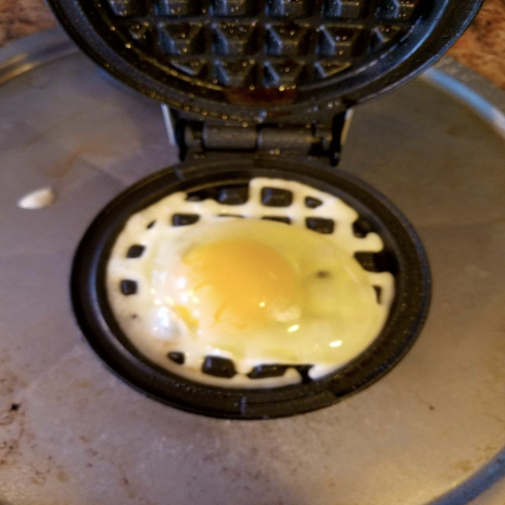 egg in the waffle maker