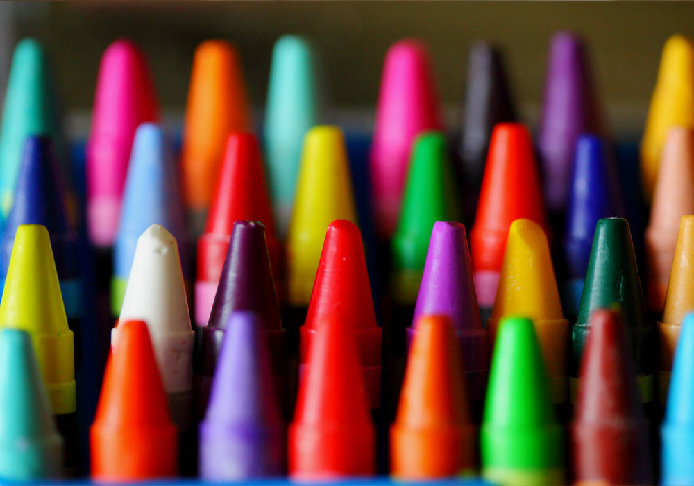 Different-colored crayons.