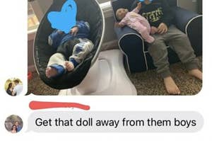 "A father-in-law texting ""get that doll away from them boys"" about a picture of two boys with a baby doll"
