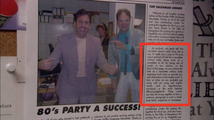 a newspaper clipping featuring michael scott and dwight in '80s attire