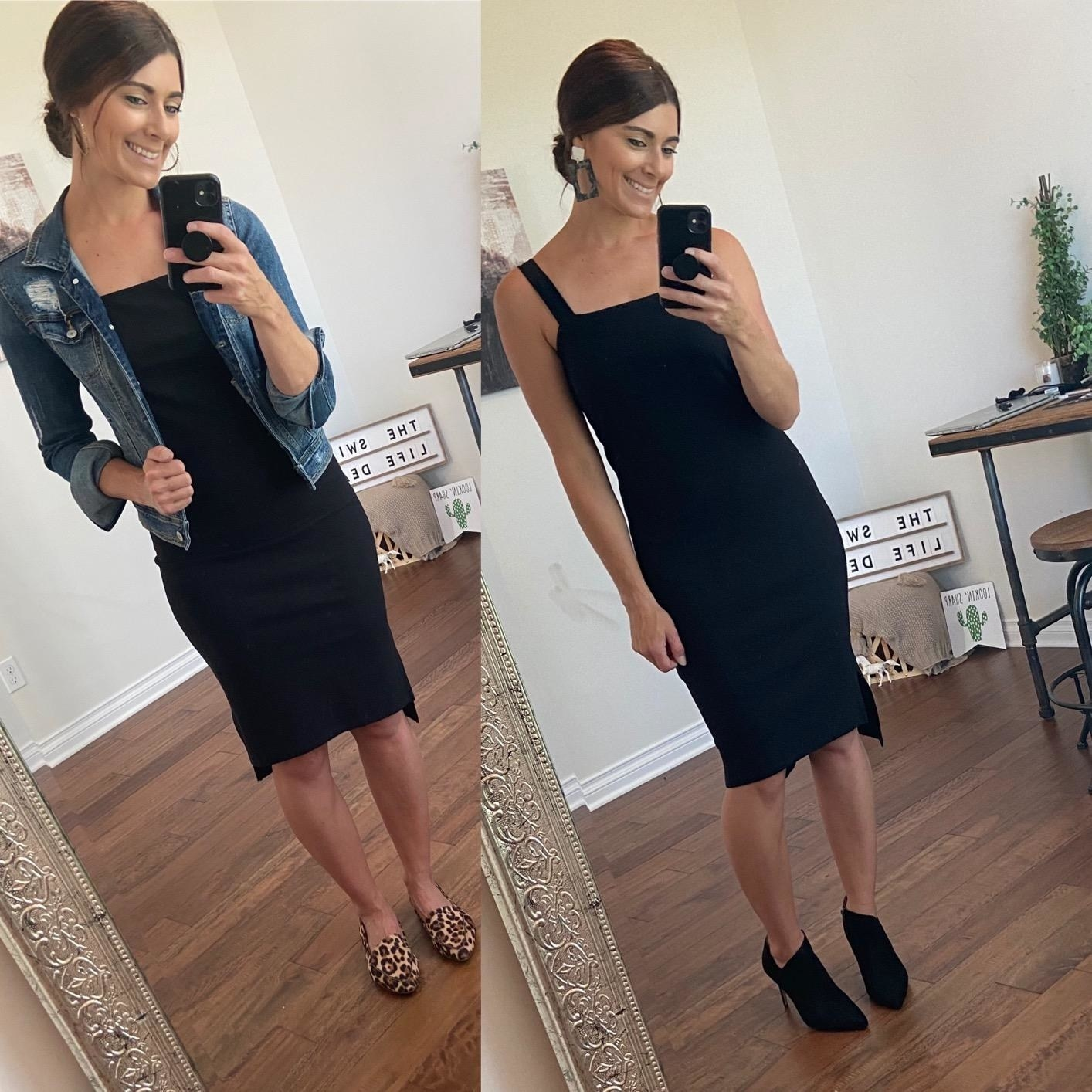 Reviewer wearing black dress showing it worn with flats and heels