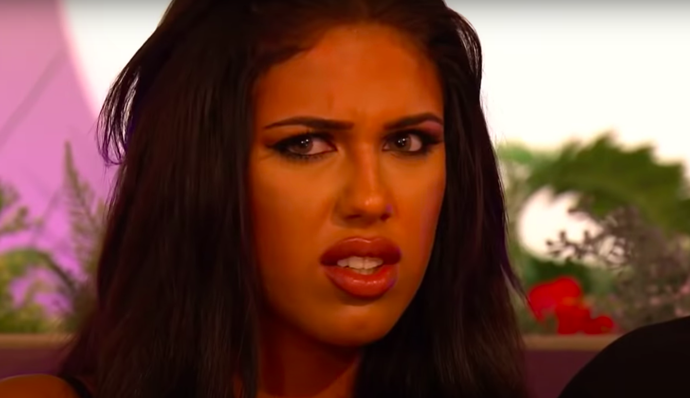"""Anna from """"Love Island UK"""" looking annoyed and confused"""