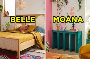 """On the left, a bedroom with bed next to a window and an artsy chandelier labeled """"Belle,"""" and on the right, a bright, sunny bedroom with a shelf topped with books and knickknacks and hanging vines above it labeled """"Moana"""""""