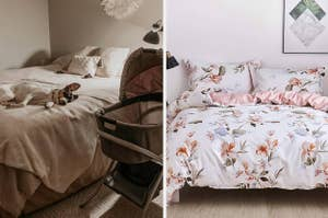 dog sleeping on a white duvet cover and a bed with a floral duvet cover and matching shams