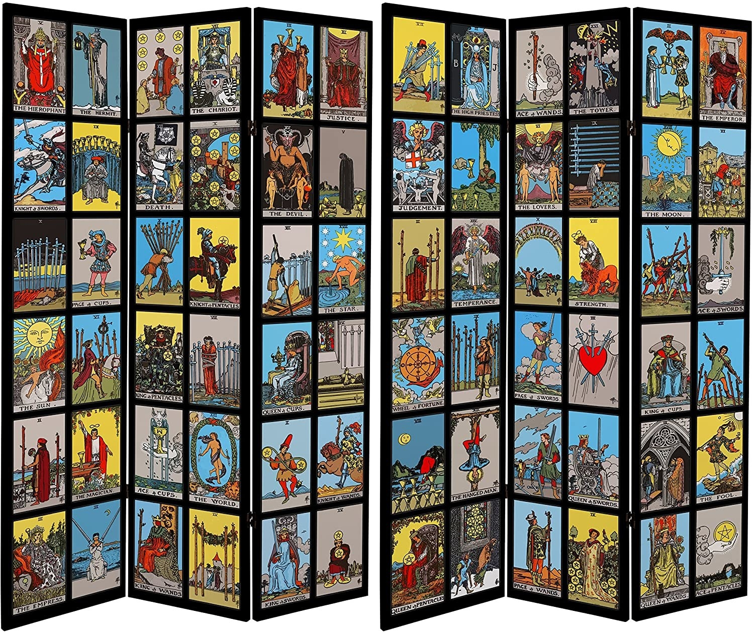 two tarot-covered room dividing panels
