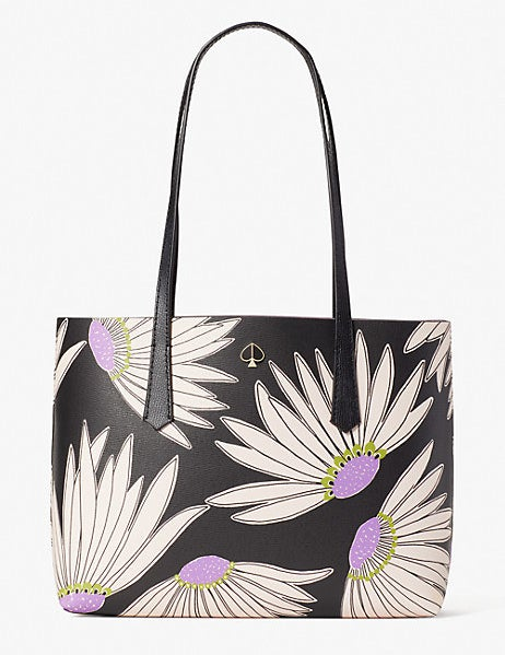 black, white, and purple floral tote