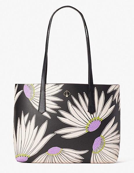 black, white, and purple floral tote