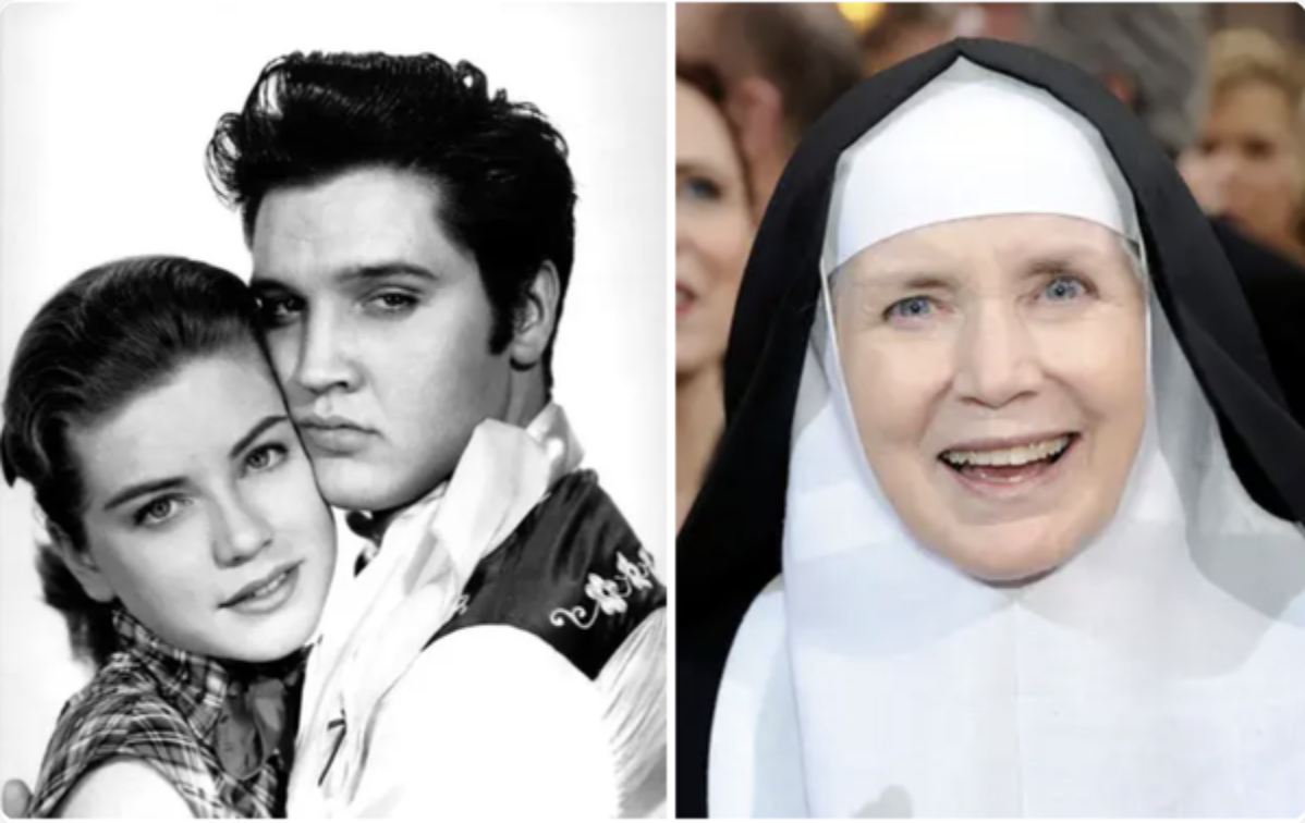 Hart with Elvis Presley in a romantic movie still and later as a real life nun