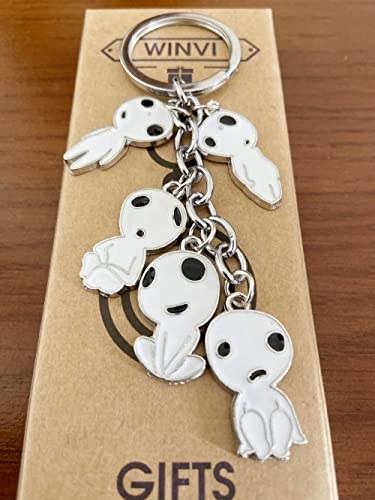 A keychain with five little Kodama spirits on it