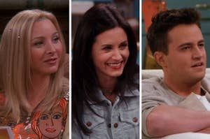 Phoebe on the left, Monica in the middle, and Chandler on the right