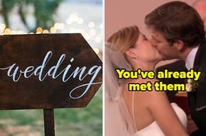 """A wedding sign and Jim and Pam from """"The Office"""" kissing"""