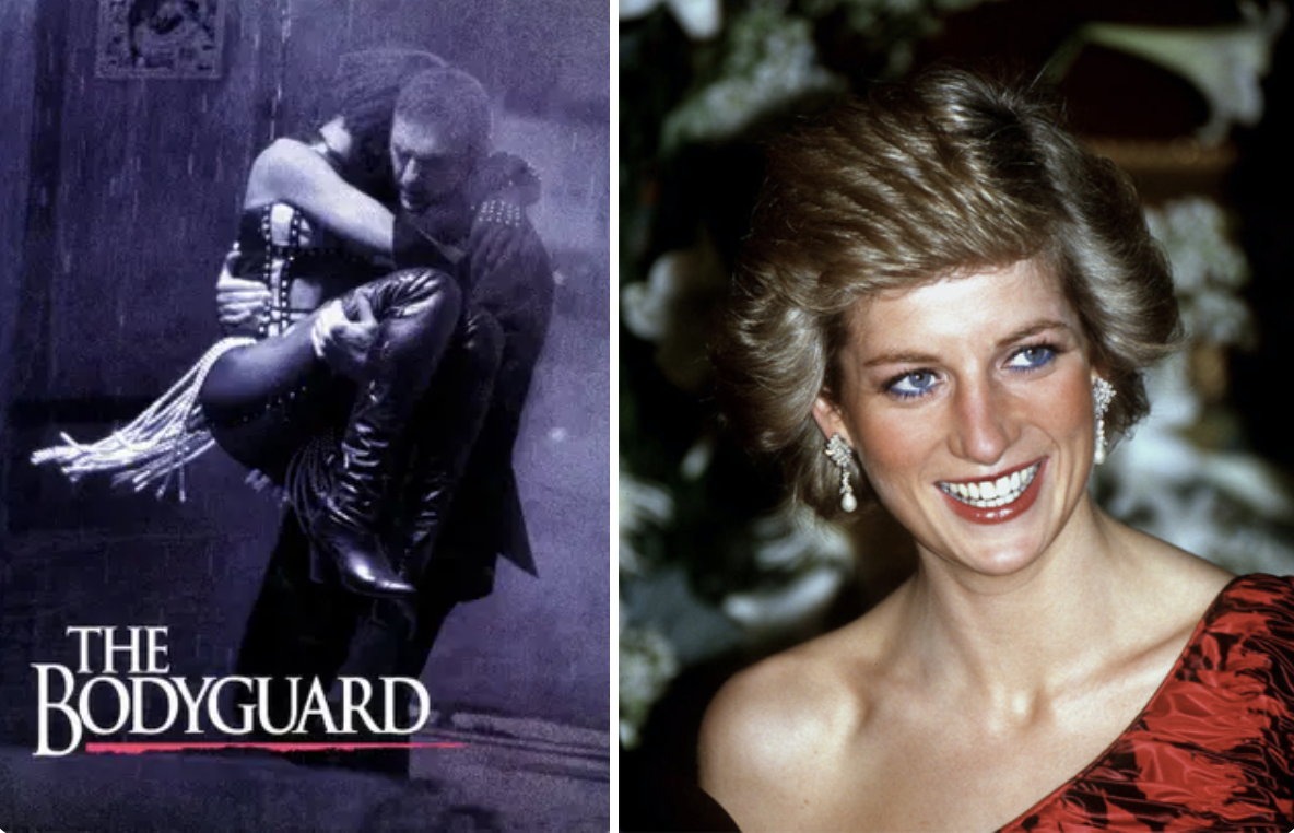 The Bodyguard poster and a photo of princess diana
