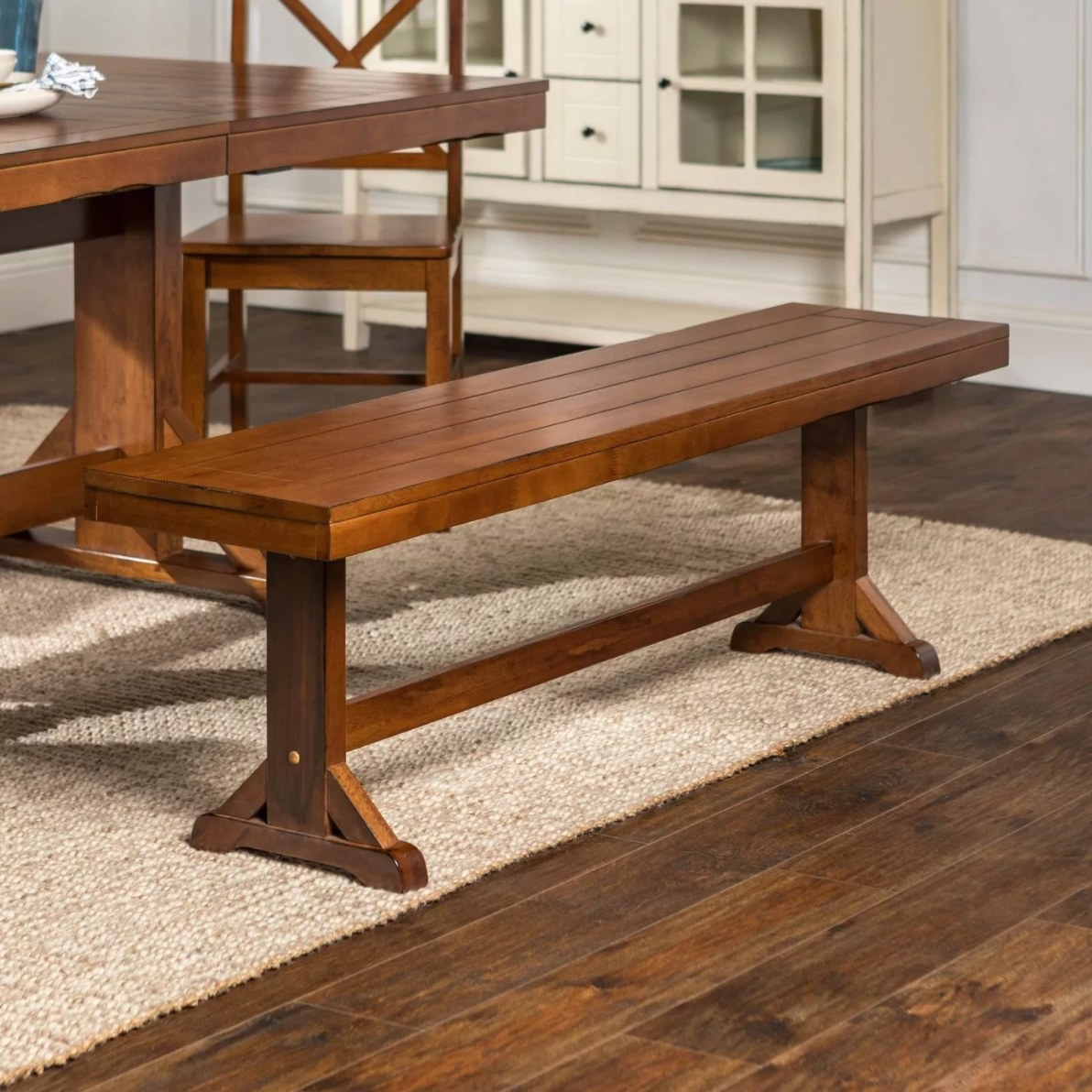 The antique kitchen dining bench