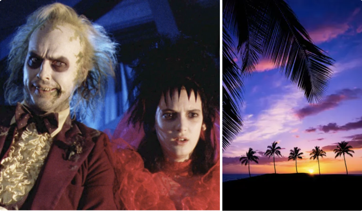 michael keaton and winona ryder in beetlejuice and the hawaii sunset