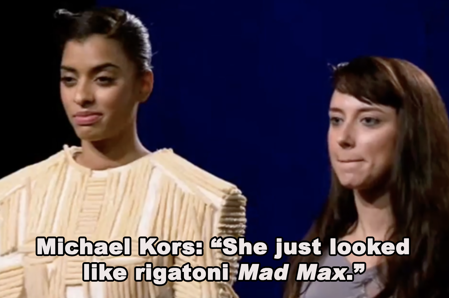 """Michael Kors calls a look made from candy """"rigatoni Mad Max"""""""