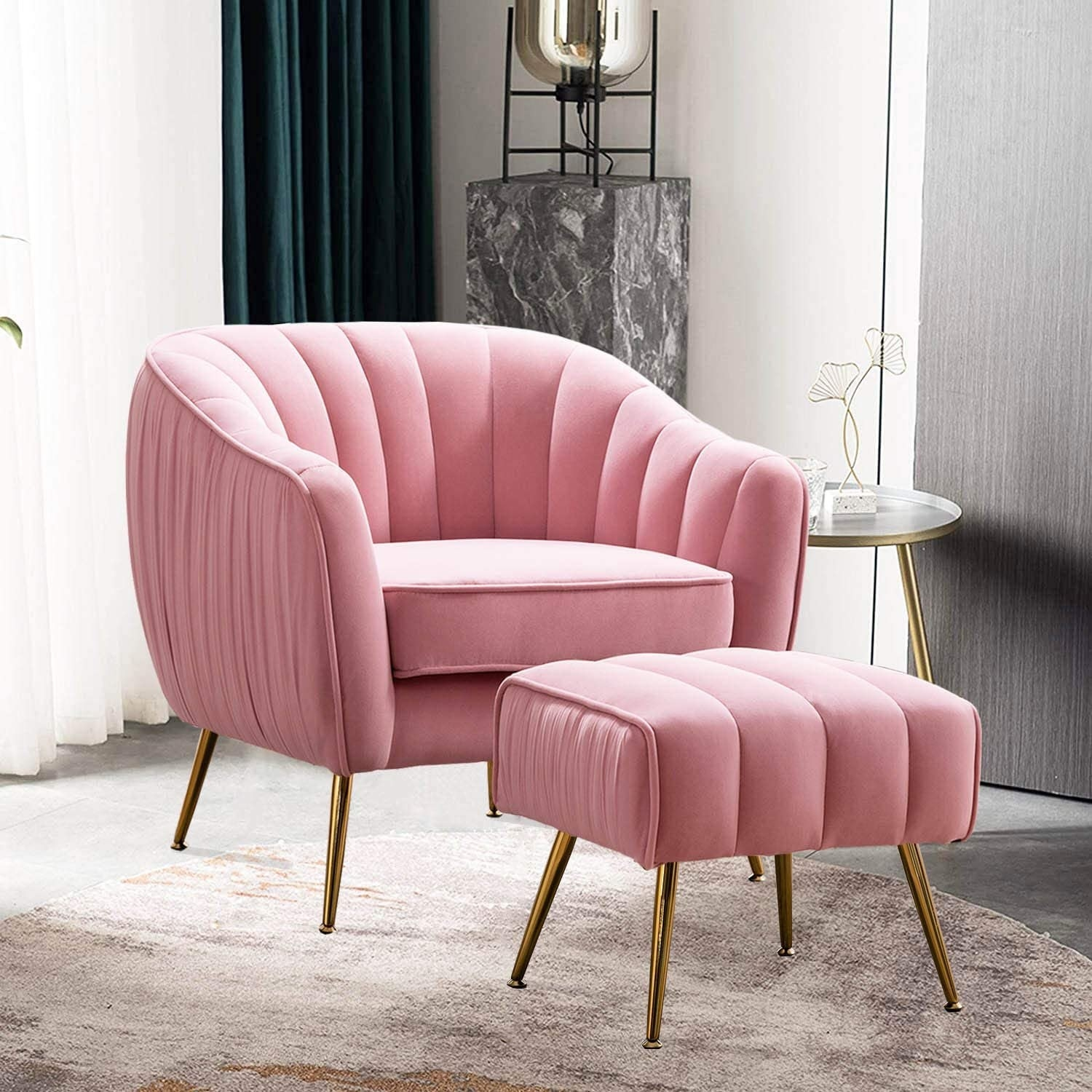 matching pink accent chair and ottoman both which have gold legs