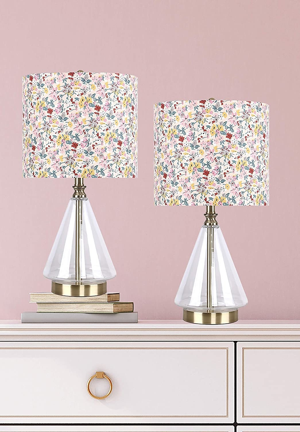 two glass and brass lamps with floral lampshades