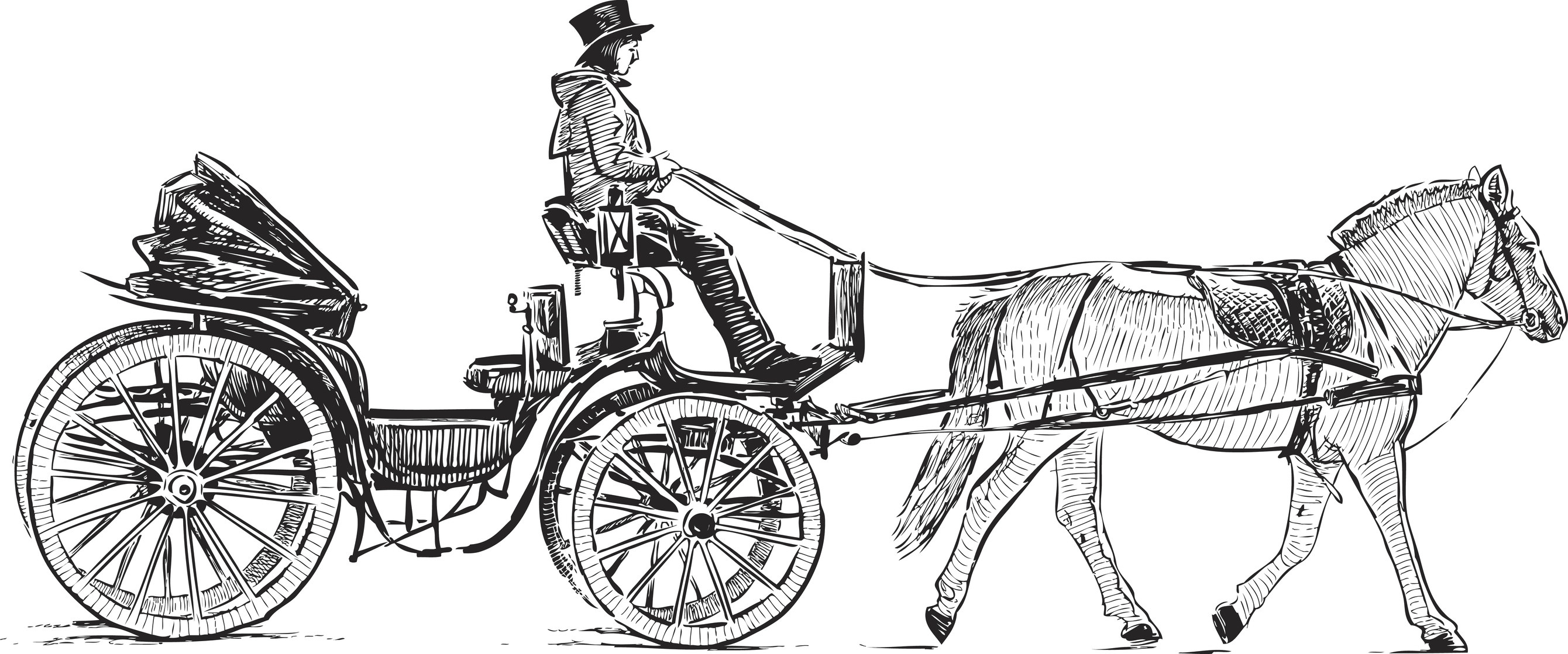 A sketch of a horse-drawn carriage