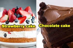 Strawberry cake and chocolate cake