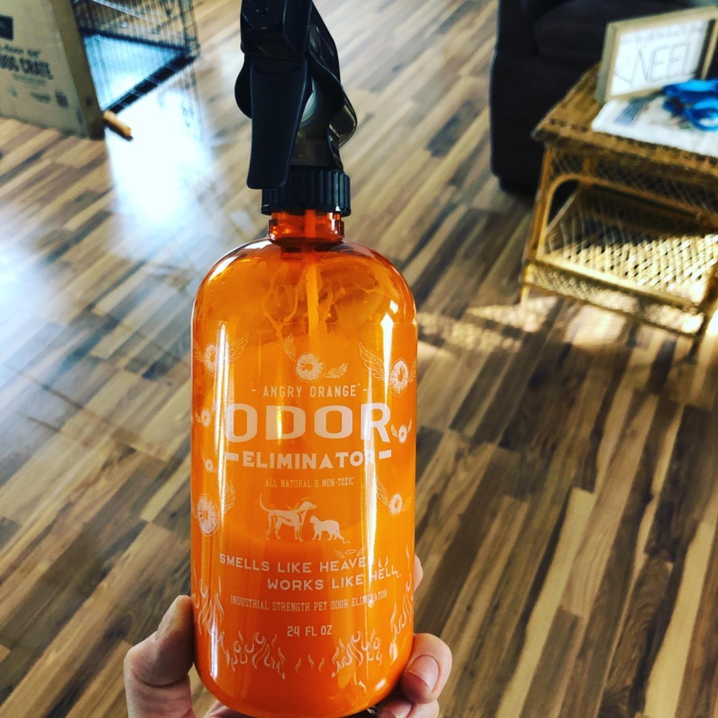 the orange bottle held up in front of a wood floor