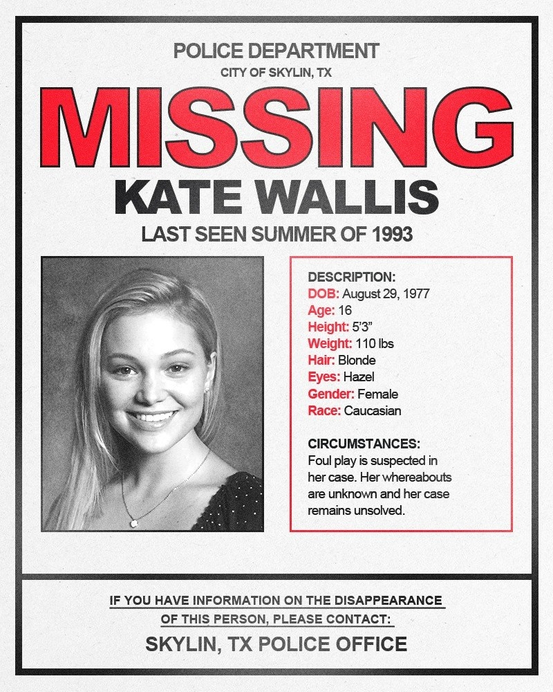 Mock-up of a missing person poster with Olivia Holt's character Kate depicted.