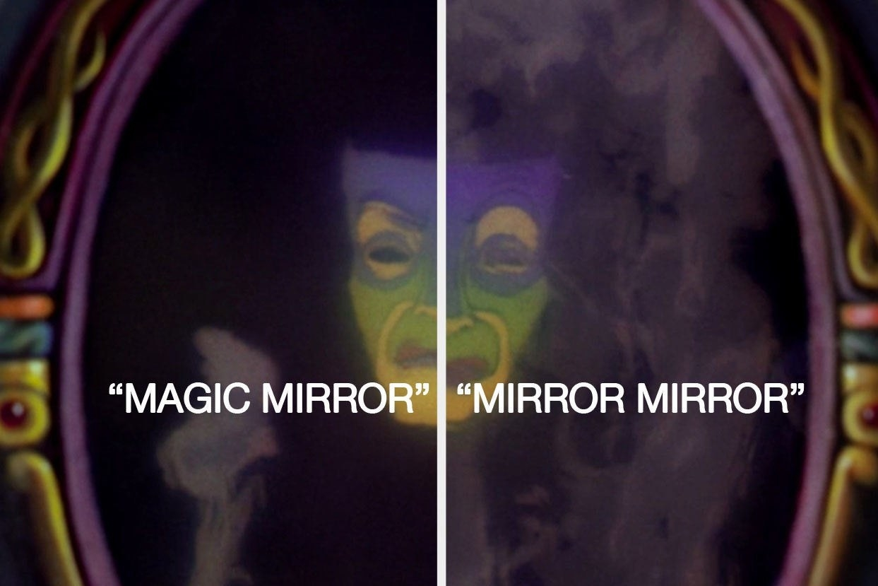 "Enchanted mirror from Snow White saying ""Magic mirror"" and ""mirror mirror"""