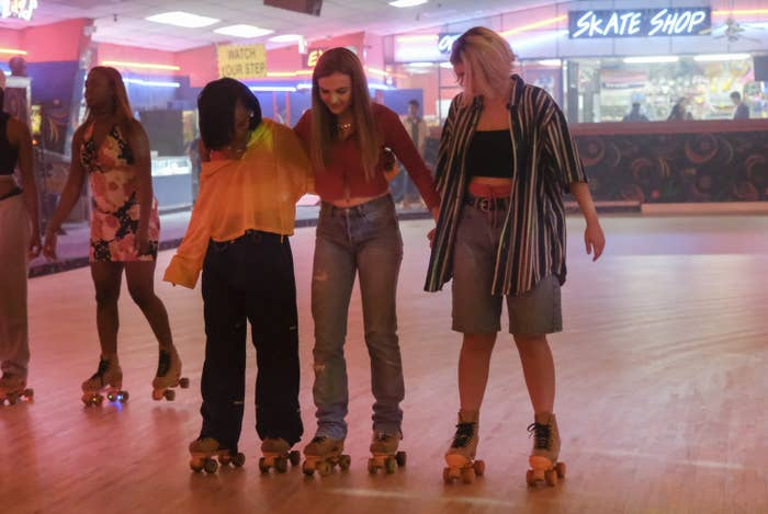 """""""Cruel Summer"""" characters at a roller rink"""