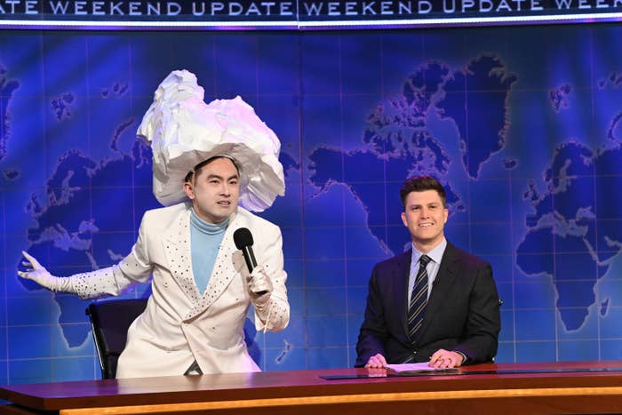Bowen Yang as the iceberg that sank the Titanic on Weekend Update