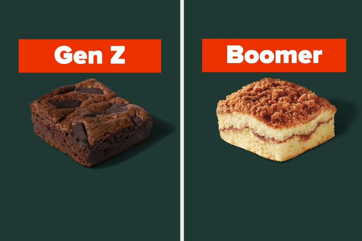 "A brownie is on the left labeled, ""Gen Z"" with coffee cake on the right labeled, ""Boomer"""
