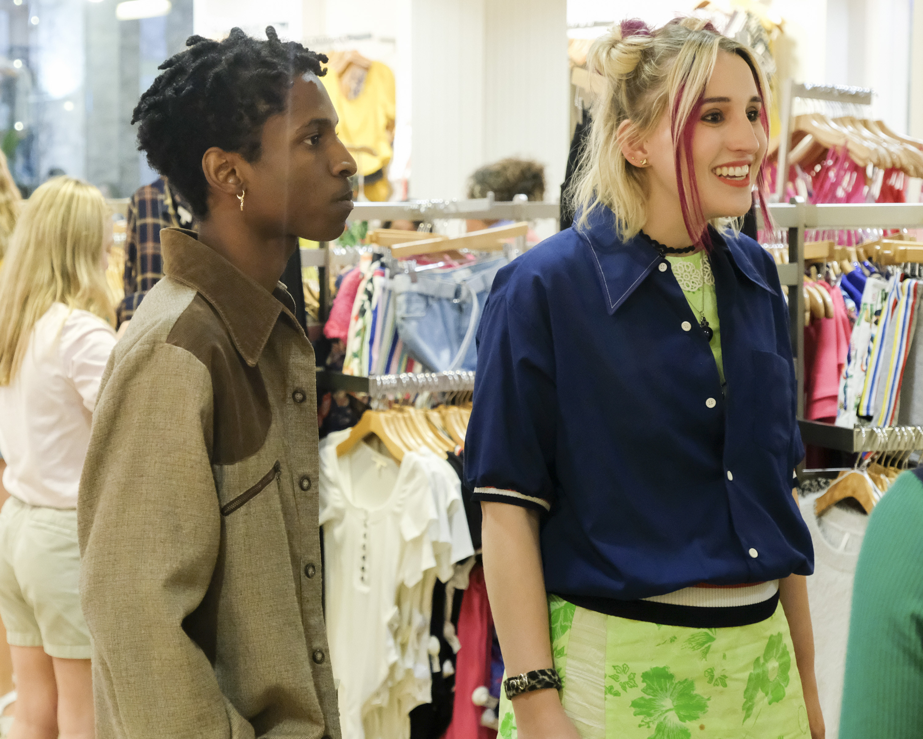 """Cruel Summer"" characters standing in a clothing store; played by Allius Barnes and Harley Quinn Smith."