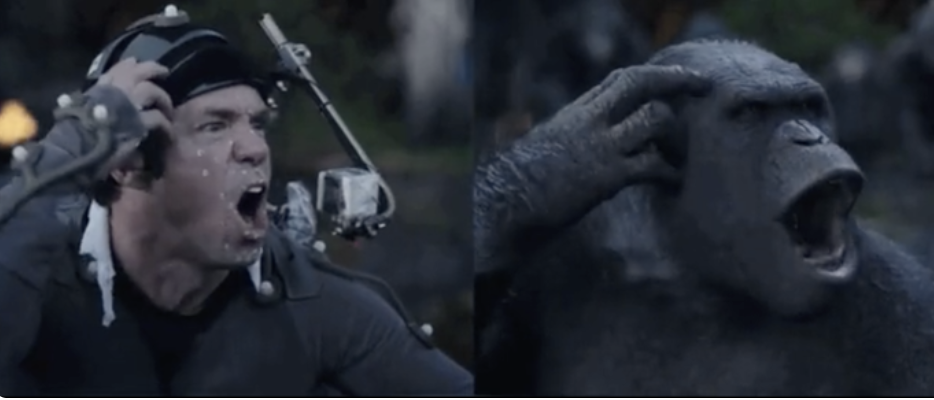 An actor performs as an ape in one photo, then in another his performance is rendered as an ape with CGI