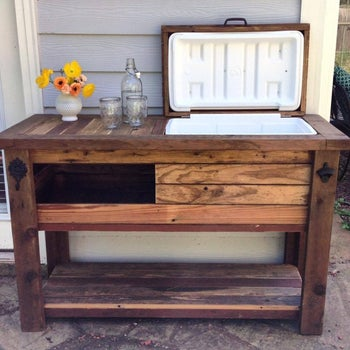 wood bar with built-in compartment for cooler