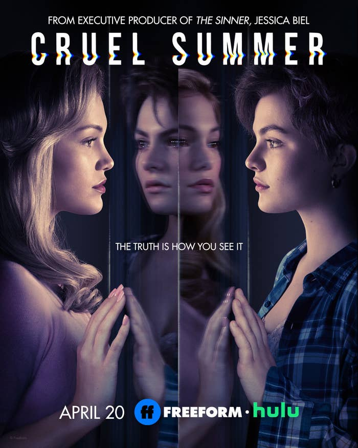 Cruel Summer promotional poster with characters Kate and Jeanette reflected in mirrors.