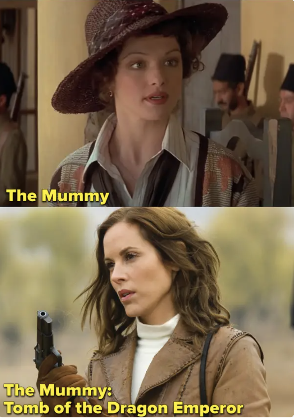 Weisz in the mummy and Bello in the last film