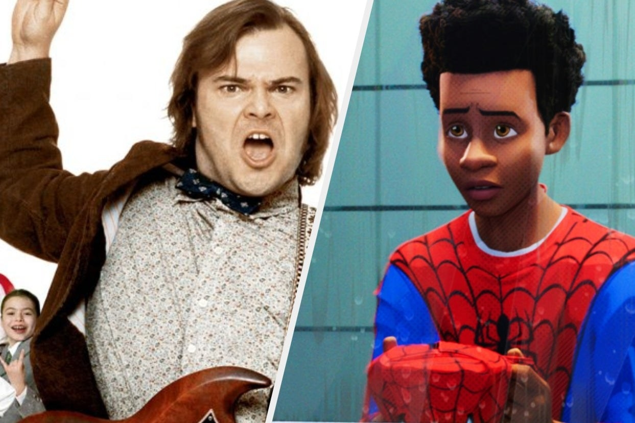 Jack Black playing guitar in school of rock next to Miles from spider-man spiderverse