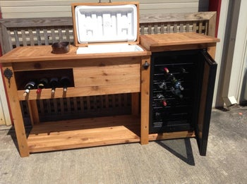 different style bar with compartment for both a cooler and a wine fridge