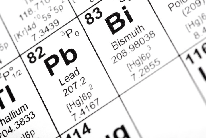 The entry for lead on the periodic table (symbol Pb)