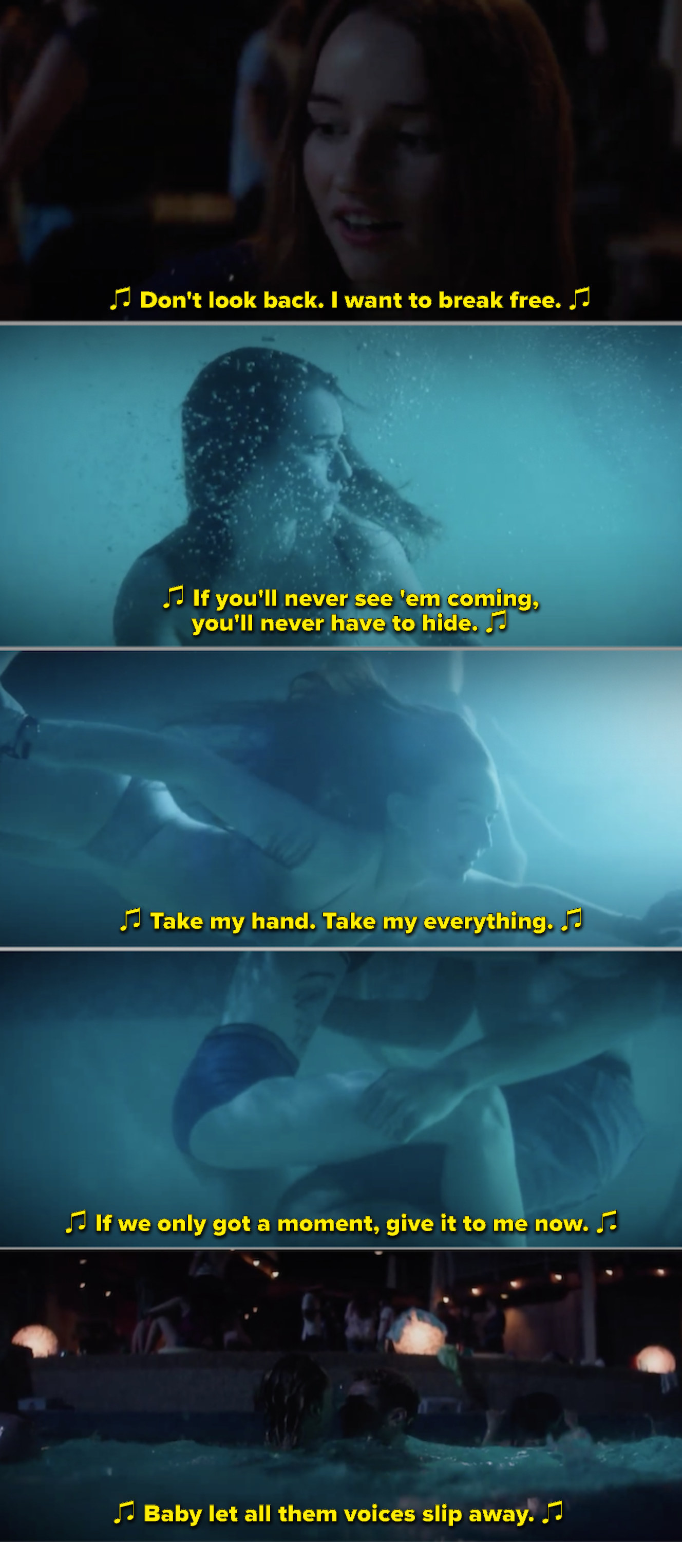 """Amy swimming underwater while this song plays in the background: """"Take my hand, take my everything, if we only got a moment, give it to me now"""""""
