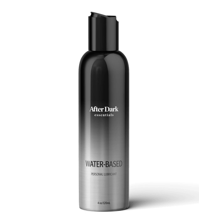 The 4-ounce, black ombre bottle of water-based lubricant
