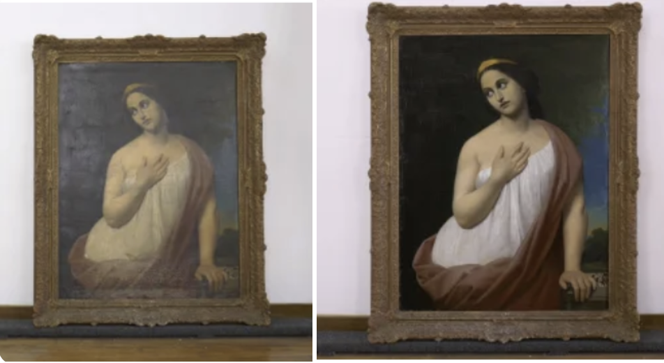 The painting is dramatically improved in the second photo
