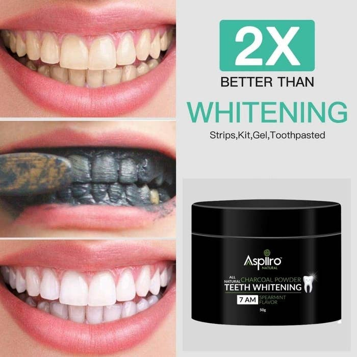Before-and-after images of a person using the powder. Their teeth are noticeably whiter after using the powder.
