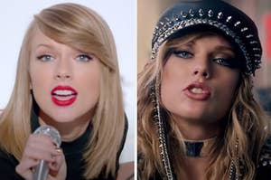 """On the left, Taylor Swift in the """"Shake It Off"""" music video, and on the right, Taylor Swift in the """"Look What You Made Me Do"""" music video"""