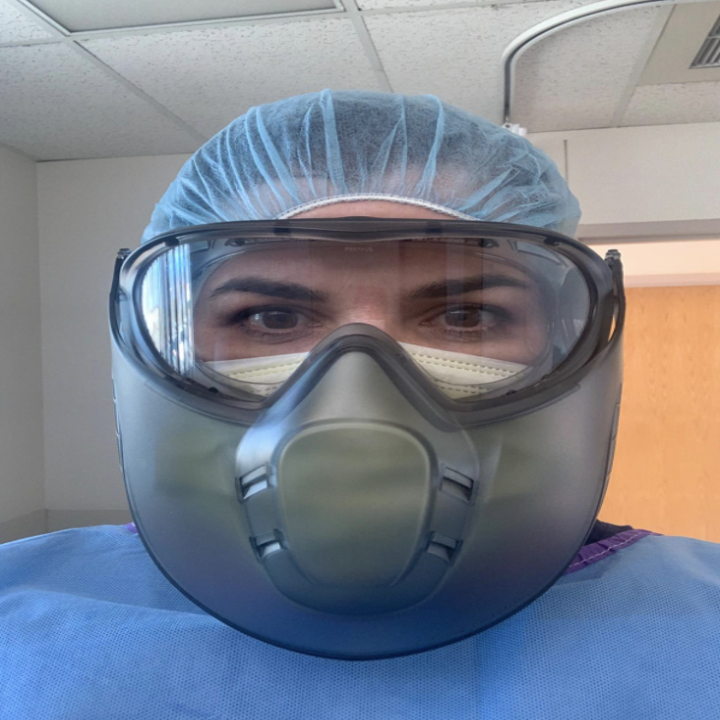 medical worker in a fogless mask