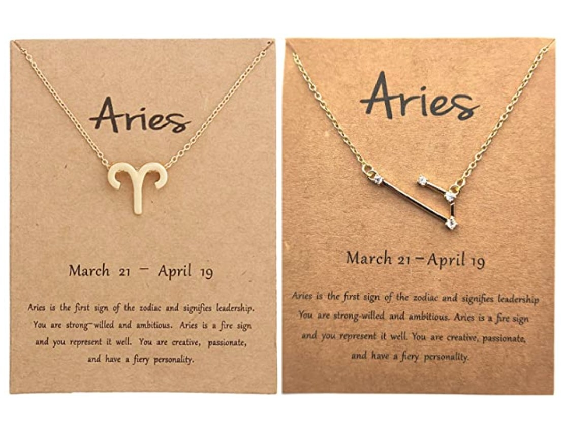 The necklaces for the month of aries, one in the shape on the sign and one in the constellation