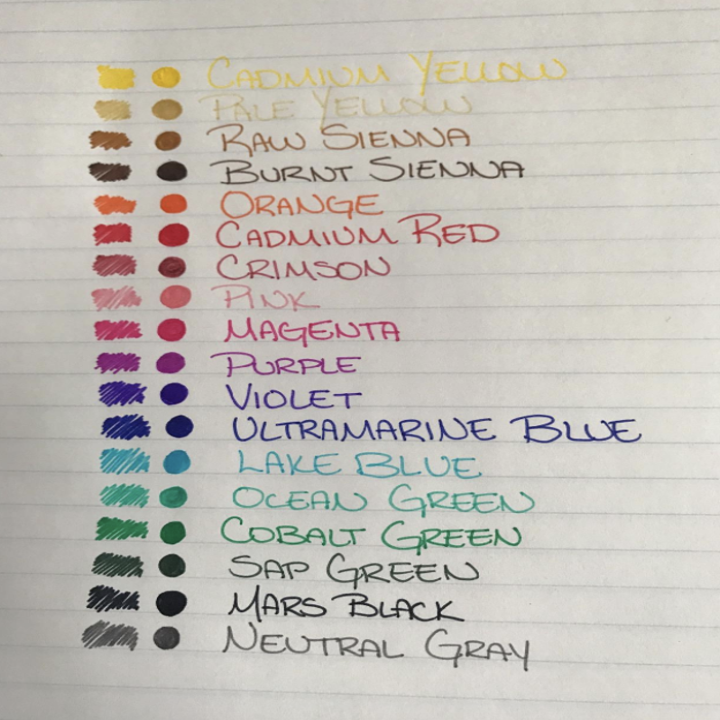 list of all the colors of the pens