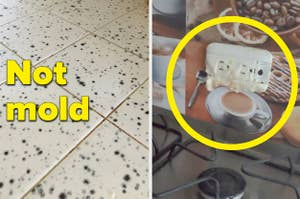 A kitchen floor that looks like it's covered in mold and an outlet that's way too close to a stovetop