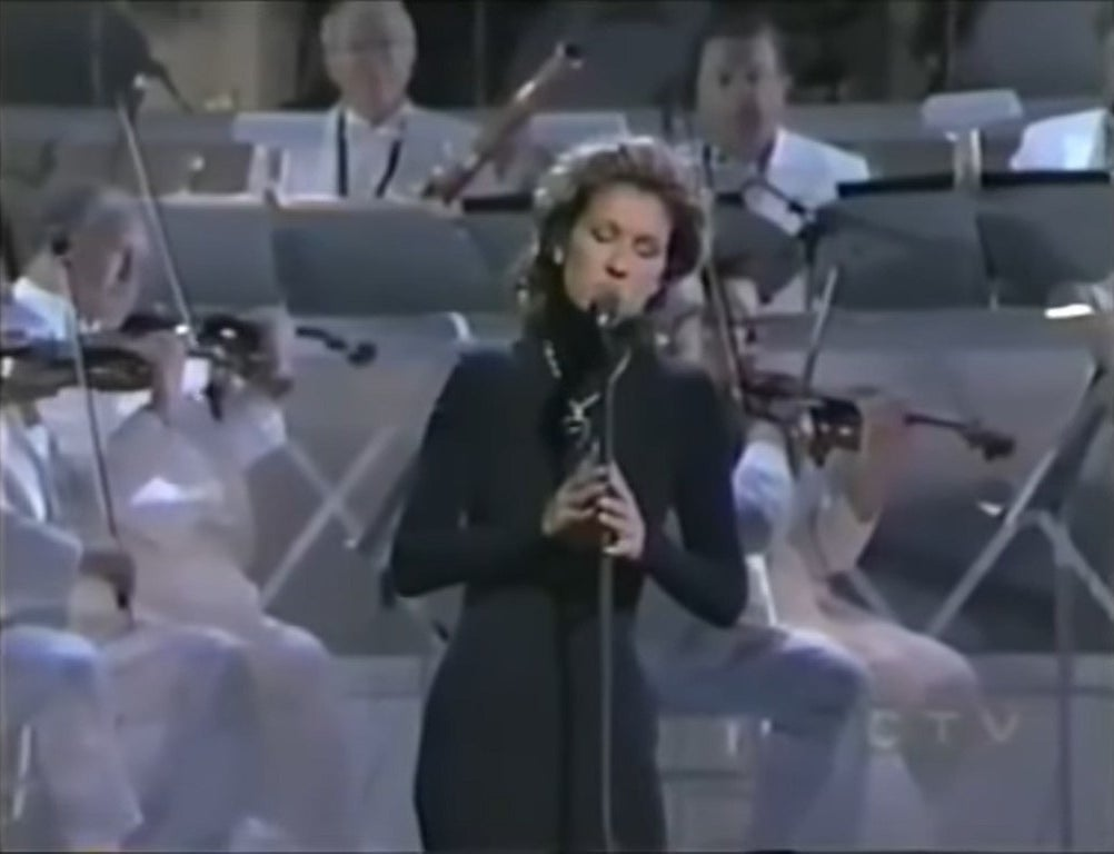 Celine Dion with an orchestra